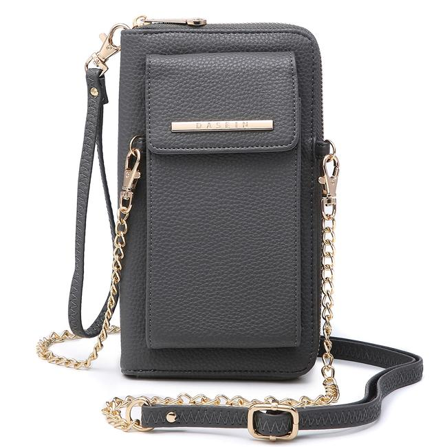 Item - Wristlet W/Phone Case and Detachable Chain Strap Gray Faux Leather Cross Body Bag
