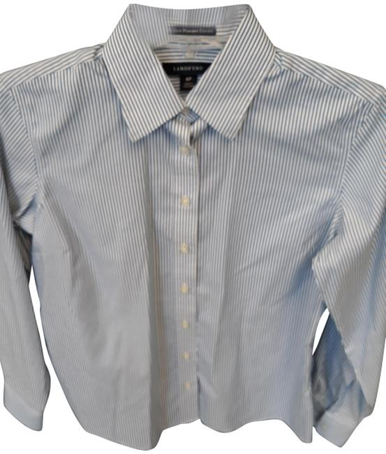Item - Blue Whie Thin Stripe Button-down Top Size Petite 4 (S)