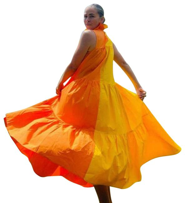 Item - Orange Two-tone Tiered Long Casual Maxi Dress Size 6 (S)