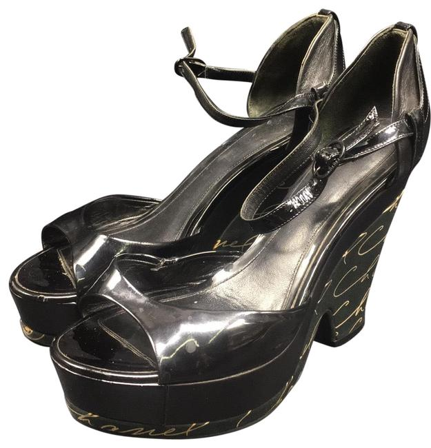 Item - Green and Black Leather Platfrom Sandals Wedges Size US 4 Regular (M, B)