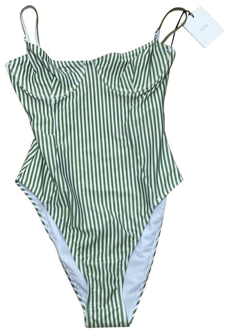 Item - Green Striped Isabella One-piece Bathing Suit Size 10 (M)