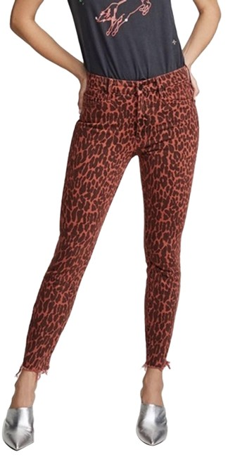 Item - Red High Waisted Looker Leopard Skinny Jeans Size 26 (2, XS)