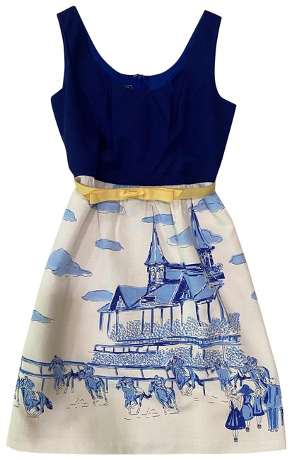 Item - Blue and Ivory Kentucky Derby Sundress Mid-length Short Casual Dress Size 6 (S)
