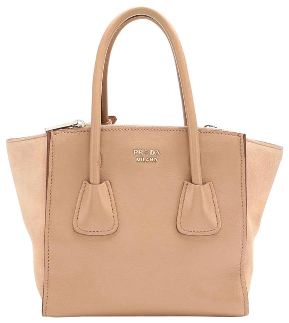 Item - Twin Pocket Mini City Beige Leather and Suede Tote