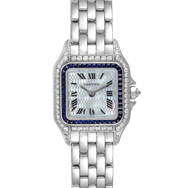 Item - Textured Mother Of Pearl Panthere Ladies 18k White Gold Sapphire Diamond Ladies Watch