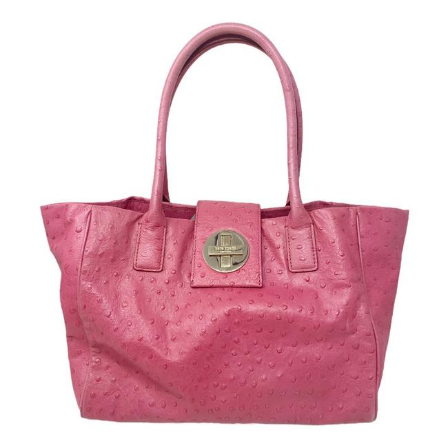 Item - Bag Ostrich Embossed Pink Leather Tote