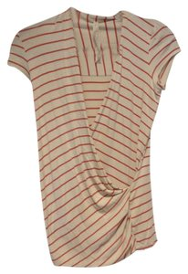 Bailey 44 Striped Draped T Shirt Ivory/orange
