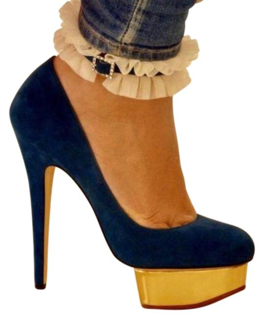 Item - Blue Teal Dolly Heel with Cuff Pumps Size EU 38.5 (Approx. US 8.5) Regular (M, B)