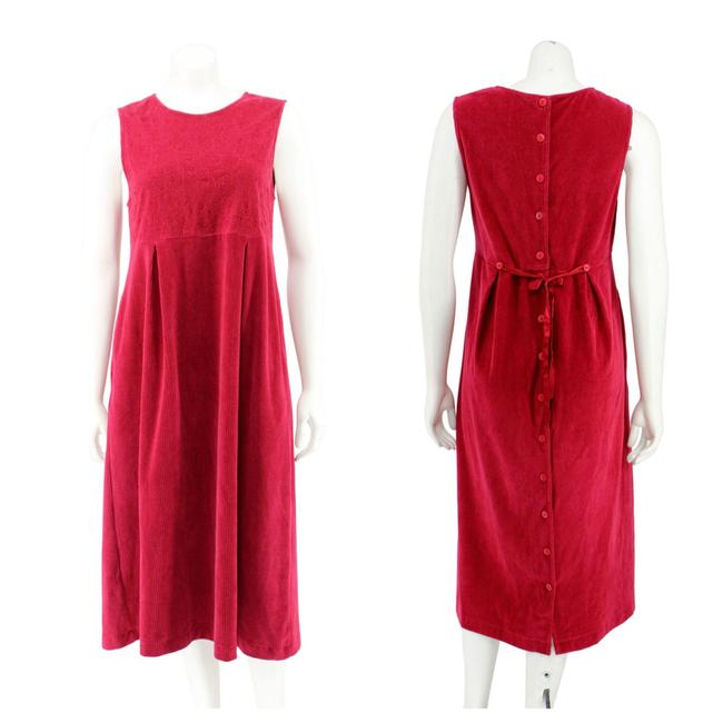 Item - Red Corduroy Button Down Sleeveless Long Casual Maxi Dress Size 4 (S)