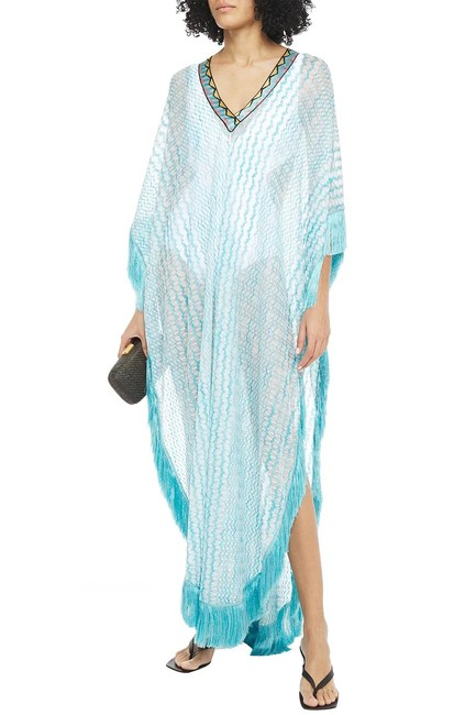 Item - Turquoise Mare Fringe-trimmed Crochet-knit Kaftan Mid-length Casual Maxi Dress Size 4 (S)