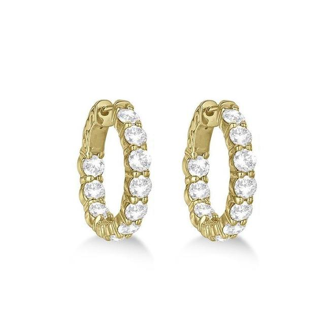 Item - 14k Yellow Gold 4.00ct Small Round Hoop Earrings