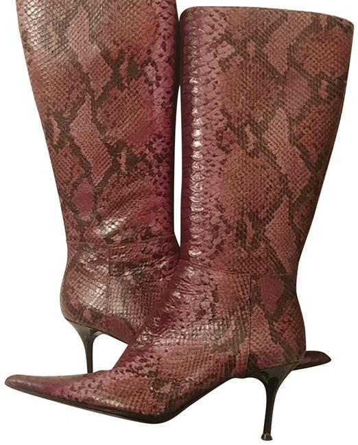 Item - Purple Snake Skin Pointed Toe Stiletto Boots/Booties Size EU 38 (Approx. US 8) Regular (M, B)