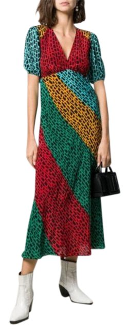 Item - Blue Green Yellow Red London Amber Printed Silk Mid-length Casual Maxi Dress Size 00 (XXS)
