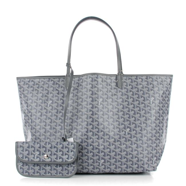 Item - Bag Chevron St Louis Pm with Pouch 55gy625 Grey Coated Canvas Tote