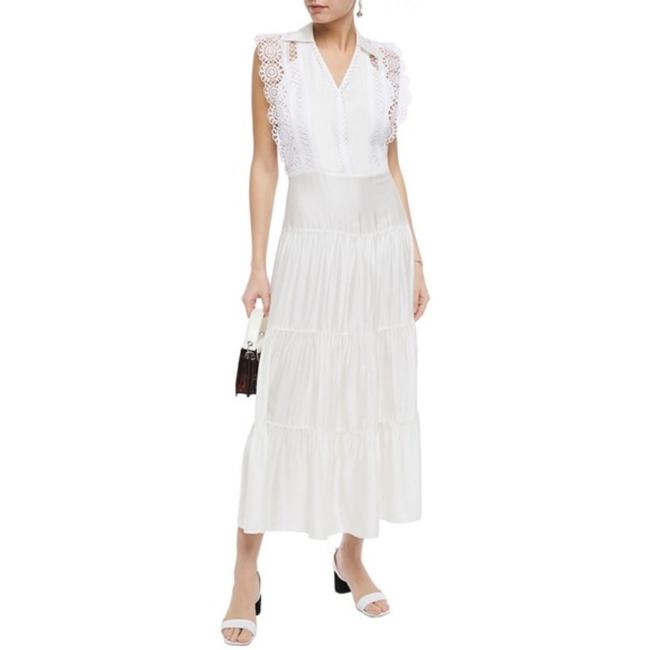 Item - White Satin Lace Maxi In Long Night Out Dress Size 6 (S)