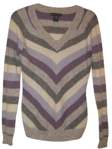 New York & Company Wool Blend Striped V-neck Sweater