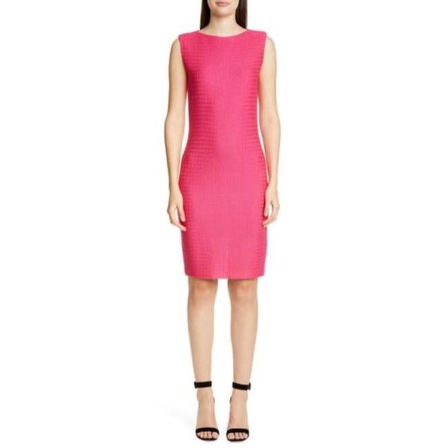 Item - Pink Wool Blended Texture Knit In Mid-length Work/Office Dress Size 8 (M)