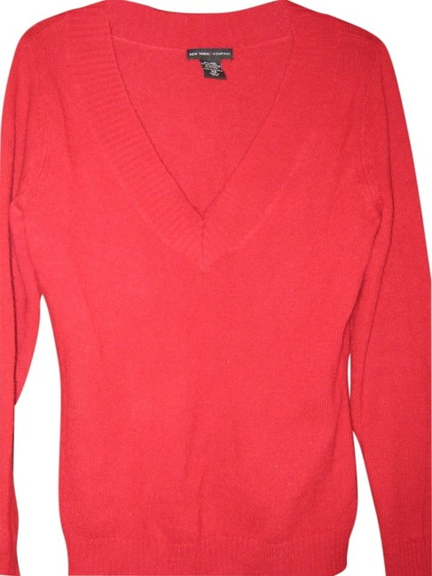 New York & Company V-neck Wool Blend Red Sweater New York & Company V-neck Wool Blend Red Sweater Image 1