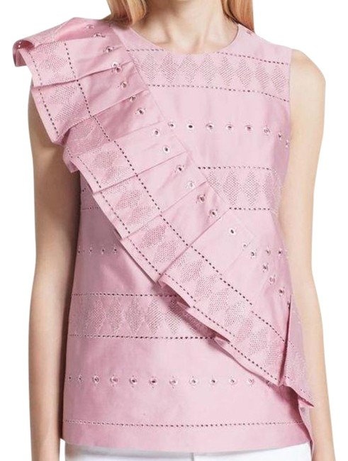 Item - Pink Forelli Ruffle Front Embroidered 1/S Blouse Size 4 (S)