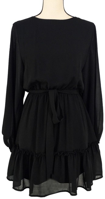 Item - Black Chiffon Balloon Sleeve Belted Lined Short Casual Dress Size 6 (S)