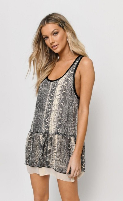 Item - Gray And Black Turn It Loose Short Casual Dress Size Petite 6 (S)