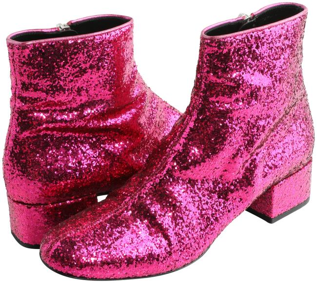 Item - Fuchsia 40mm Babies Glittered Leather Ankle Boots/Booties Size EU 39 (Approx. US 9) Regular (M, B)