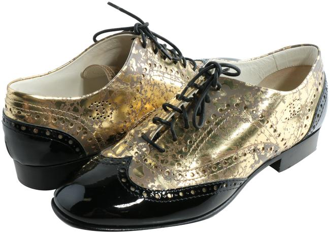 Item - Gold/Black Patent Brogue Leather Lace-up Oxford Formal Shoes Size EU 38.5 (Approx. US 8.5) Regular (M, B)