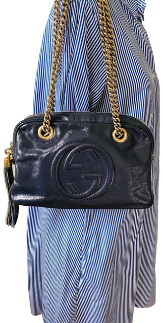 Item - Soho Double Chain Navy Patent Leather Shoulder Bag