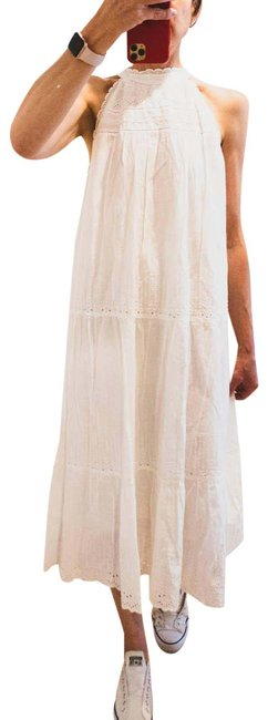 Item - White Cutwork Embroidery Halter Neck Mid-length Casual Maxi Dress Size 14 (L)