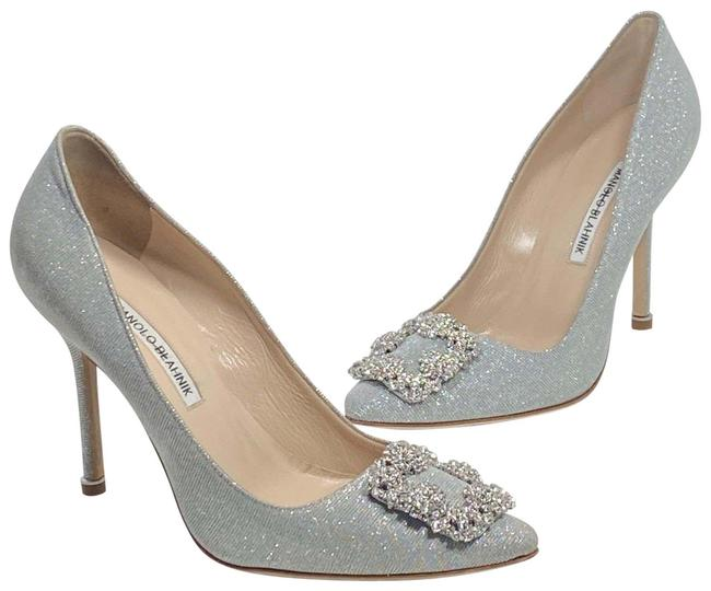 Item - Silver Hangisi 105 Embellished Shimmer Pumps Size EU 38.5 (Approx. US 8.5) Narrow (Aa, N)