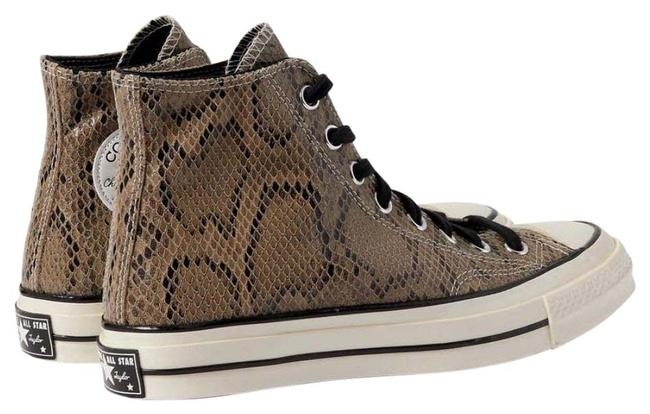 Item - Taupe Leather Snakeskin Imprinted Sneakers Size US 11 Regular (M, B)