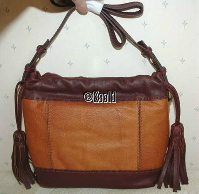 Isabella Fiore Bucket Hobo Drawcord Olivia Tote Purse Tan Brown Leather Satchel Isabella Fiore Bucket Hobo Drawcord Olivia Tote Purse Tan Brown Leather Satchel Image 3