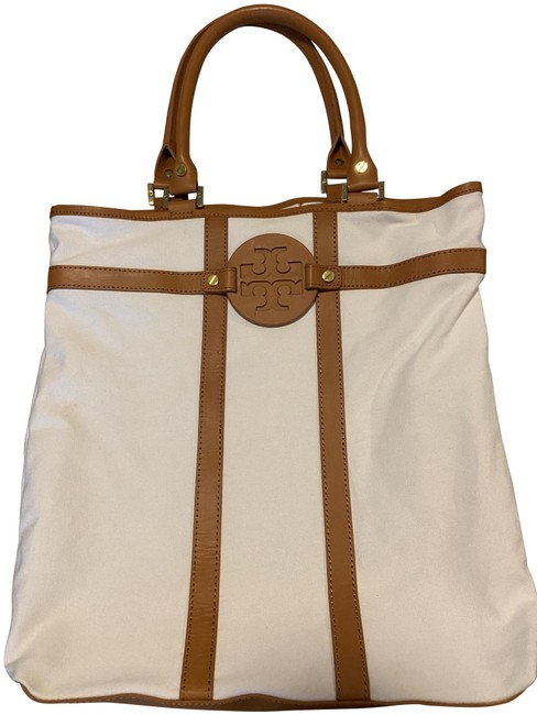 Item - Leather White and Tan Canvas Tote