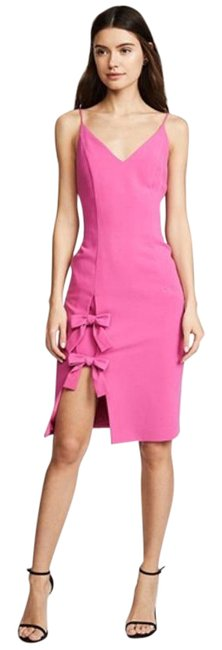 Item - Pink Mystic Double Bow Sheath Mid-length Cocktail Dress Size 8 (M)