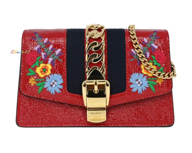 Item - Sylvie Embroidered Super Mini Hibiscus Red Leather Cross Body Bag