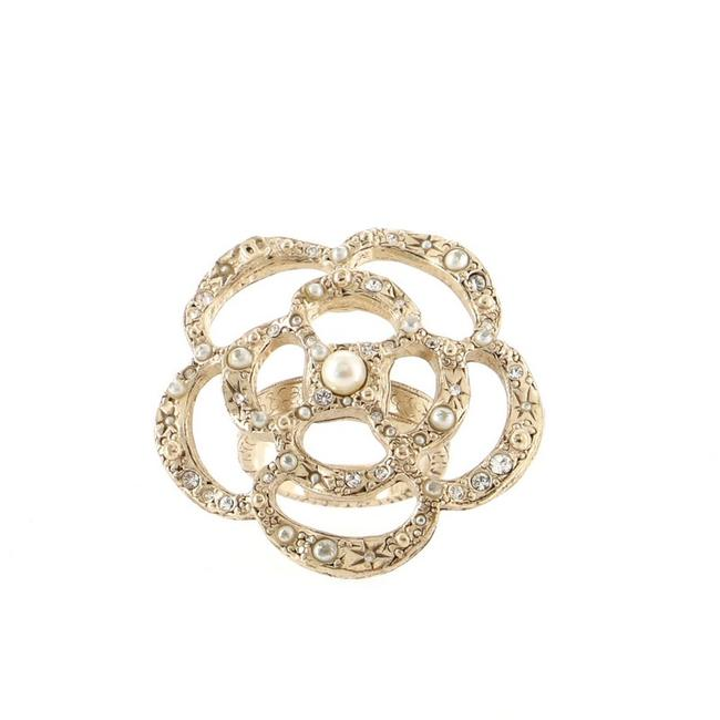 Item - Gold Camellia Cocktail Metal with Crystals and Faux Pearls Ring