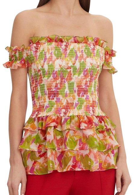 Item - Pink Silk Floral Hydra Blouse Size 8 (M)