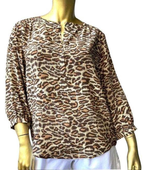Item - Tan Brown Abstract Leopard Print Silk Blouse Size 4 (S)