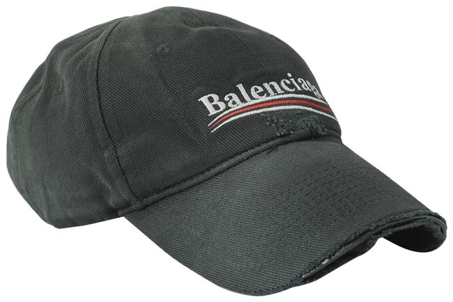 Item - Black Distressed Embroidered Cotton-twill Baseball Cap Hat