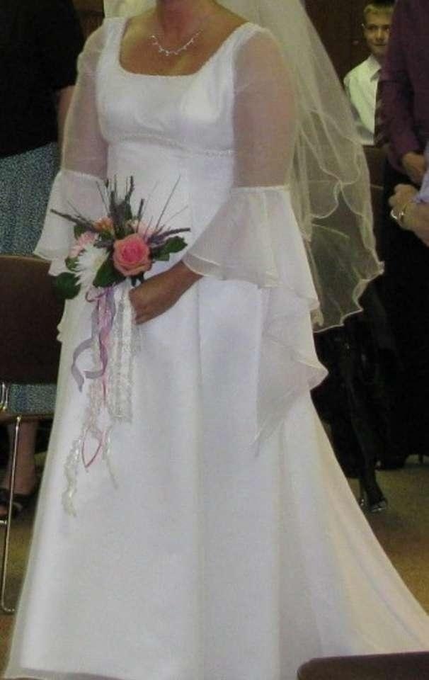 White Taffeta & Sheer Renaissance Style Formal Wedding Dress Size 12 ...