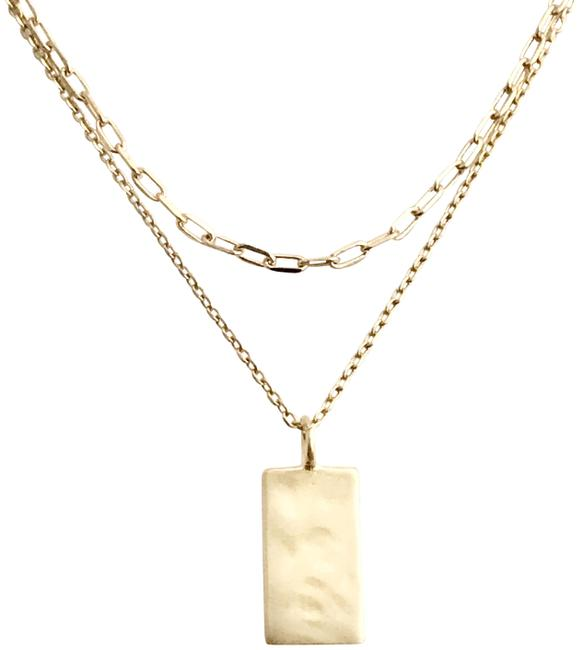 Item - Gold Layered Rectangle Tag Simple Everyday Dainty Minimalist Necklace