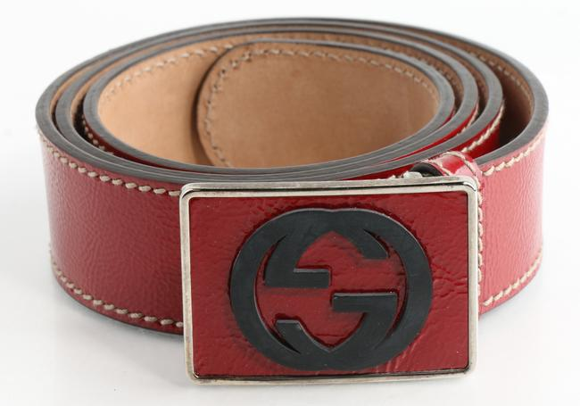 Item - Red Patent Leather Gg Plaque Belt Men's Jewelry/Accessory