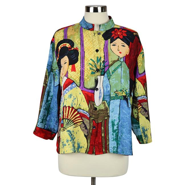 Item - Multicolor Japanese Geisha Asian-inspired Silk Button-down Top Size 12 (L)