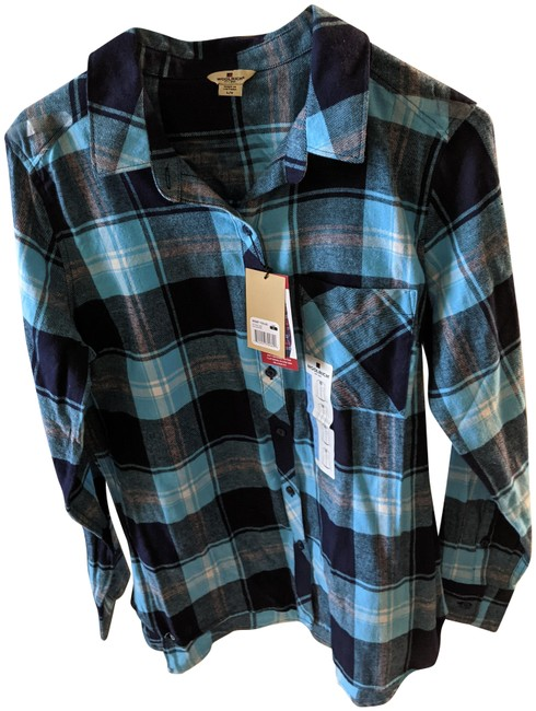 Item - Blue Checkered Relaxed Fit Button-down Top Size 12 (L)