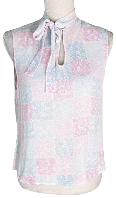 Item - Cream Tie Front Pink Blue Sleeveless Semi-sheer New Blouse Size 10 (M)