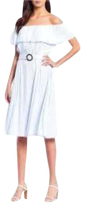 Item - Blue Off-the-shoulder Belted A-line Midi Mid-length Short Casual Dress Size 2 (XS)