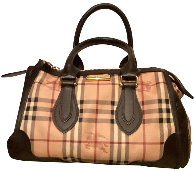 Item - Haymarket Check Coated Handle Brown Leather and Checker Patrern Canvus Satchel