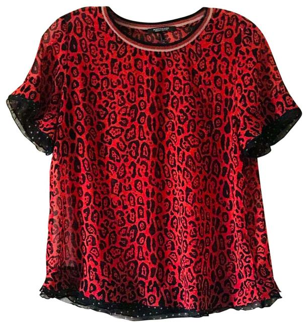 Item - Sheer Red Leopard Blouse Size 4 (S)