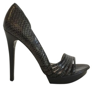 Pelle Moda Copper/Dark Brown Snake Pumps