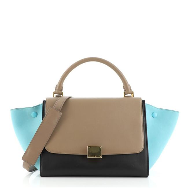 Item - Trapeze Tricolor Small Blue Brown Neutral Leather Satchel
